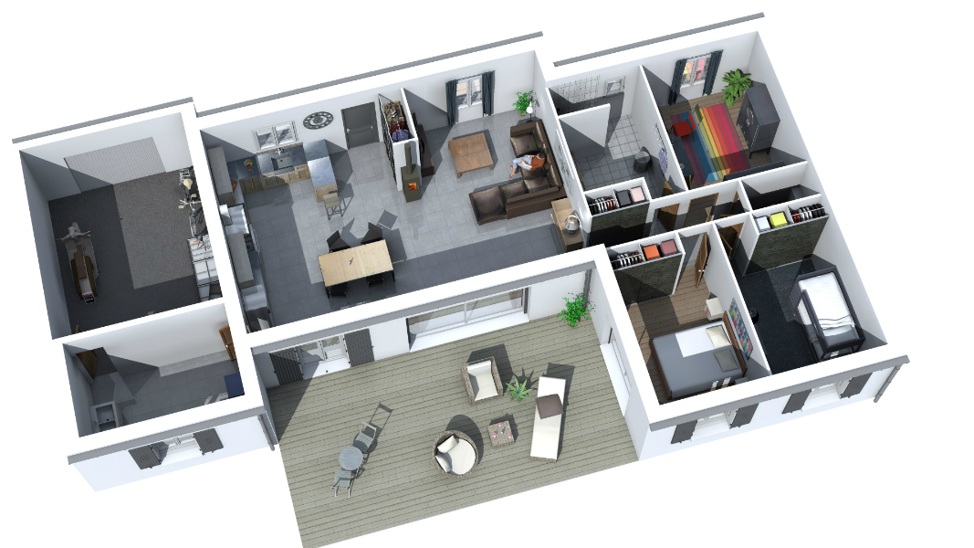 modelisation 3d interieur maison 3 chambres garage 1 solution plans. Black Bedroom Furniture Sets. Home Design Ideas
